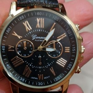 Geneva Watch Stainless steel leather